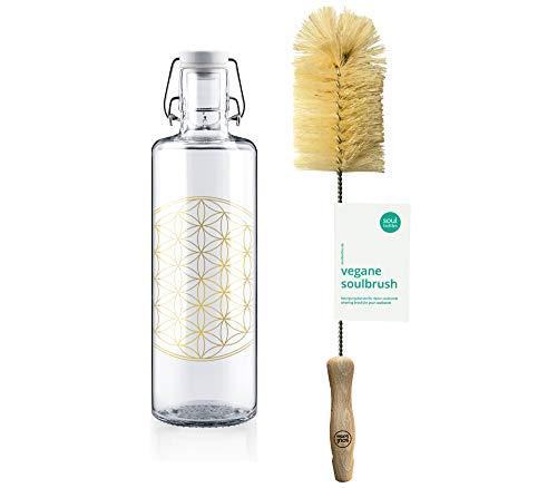 soulbottles Set 1,0l Flower of Life + soulbrush • Trinkflasche aus Glas und Reingungsbürste • vegan, plastikfrei, klimaneutral
