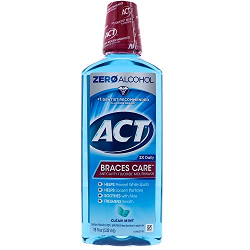 ACT Braces Care Anticavity Fluoride Mouthwash with Xylitol, Clean Mint 18 oz (Pack of 4)