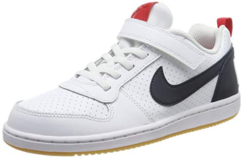 Nike Jungen Court Borough Low (PSV) Basketballschuhe, Weiß (White/Obsidian/Univ Red/Gum Lt Brown 105), 31 EU
