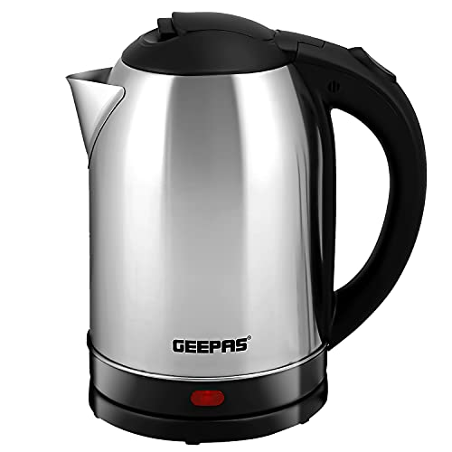 Geepas Electric Kettle, 1500W   Stainless Steel Cordless Kettle   Boil Dry Protection & Auto Shut Off   1.8L Jug Kettle for Hot Water Tea or Coffee   Swivel Base with Auto Lid Open, Light Indicator