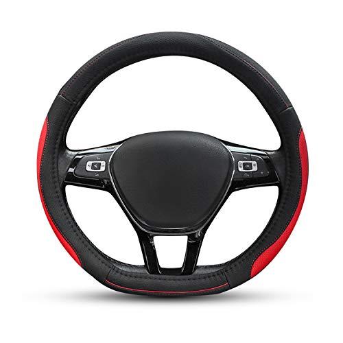 Ergocar 2019 Con forma de D Funda para volante de coche 38 cm (15') Microfibra Cuero de PU - Negro-rojo