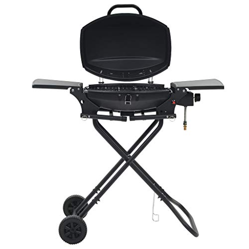 vidaXL Portable Gas BBQ Grill with Cooking Zone Black Garden Barbecue Burner