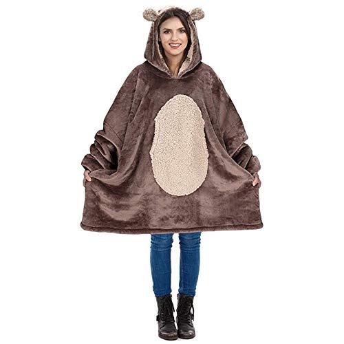 HUOFEIKE Bonita manta súper suave y cálida para el invierno, sudadera con capucha de sherpa de gran tamaño, con bolsillo frontal grande para hombres, mujeres y adolescentes, b1