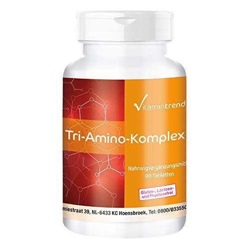 Aminosäuren Komplex - 90 vegane Tabletten – Tri-Amino Komplex L-Arginin, Ornithin, Lysin - Hergestellt in Deutschland - ohne Magnesiumstearat