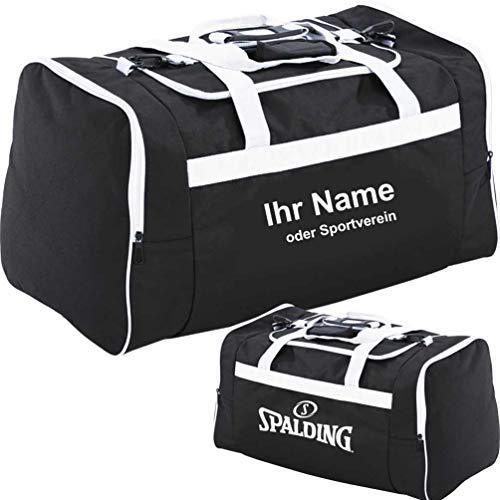 Spalding Tasche Sporttasche M medium 55 x 30 x 30 cm 50 L mit Aufdruck Name (schwarz/weiß)