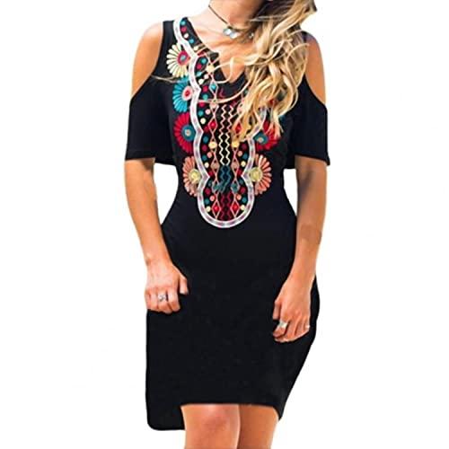 Mily Plus Size Dresses for Women 2021 Summer Vintage Tribal Large Hem Dress Bohemian Women Printed V Neck Loose Skirt for Dating