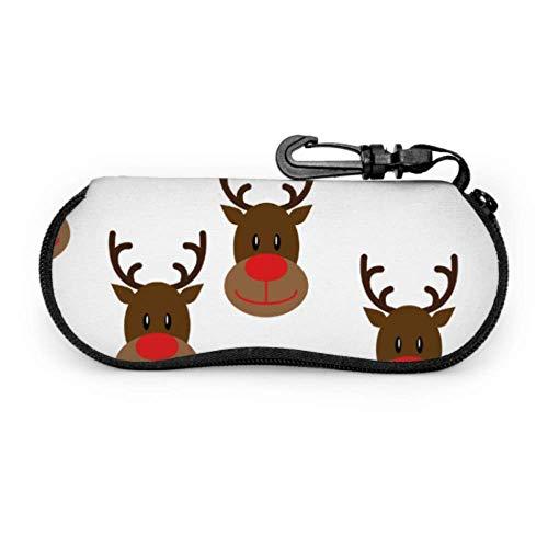 AEMAPE Lindo estuche de anteojos de alce navideño Estuche para anteojos para niños Estuche ligero para lentes de neopreno portátil con cremallera Estuche delgado para anteojos