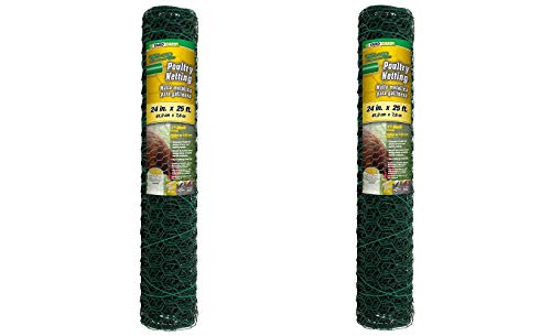 YARDGARD 308452B 2 Foot X 25 Foot 1 Inch Mesh PVC Coated Poultry Netting (Pack of 2)