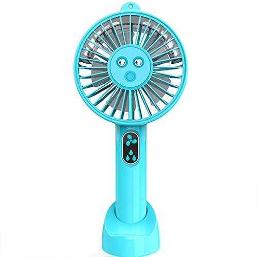 GLASSNOBLE Mini-Handlüfter,USB Handheld Spray Fan Tragbarer Luftbefeuchter Fan Mini Desktop Fan mit Batterie für Home Office Auto Outdoor Reisen 3 Geschwindigkeiten Blau