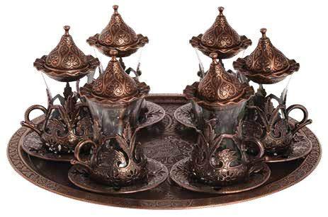Trmade Traditionelles dekoriertes altes osmanisches türkisches griechisches arabisches Teeservice mit Untertasse, 6 Stück Antique Copper