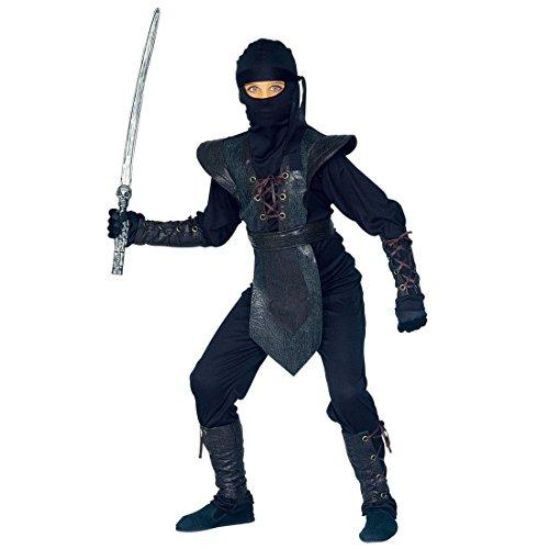 NET TOYS Costume de Ninja Noir pour Enfants Ninja déguisement Noir 158 cm 11-13 Ans Tenue de Ninja Costume d'enfant Samouraï Guerrier Asiatique