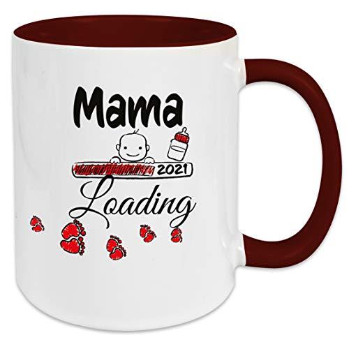 Mama Loading 2021, Baby, Geschenk Idee für Schwangere mit Spruch, Kaffee/Tee Tasse, Geschenktasse, Geburt, Schwangerschaft, Baby, Werdende Mutter (Dunkelrot)