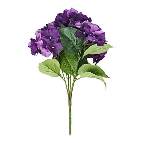 Flores Artificial 1pcs Flor De Hortensia Artificial 5 Ramo De Grandes Cabezas (diámetro 7 da Cabeza) Púrpura