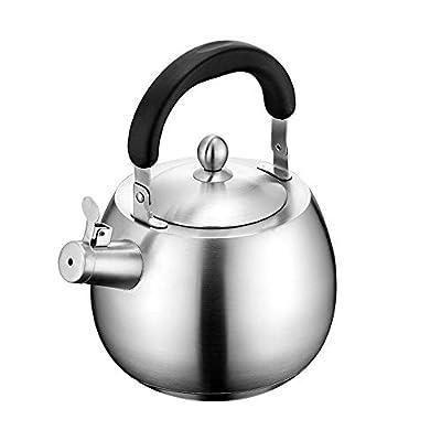 Heavy Duty Tea Kettle Stovetop Whistling Teakettle Teapot,seamless bottom, Stainless Steel 304, Brushed finish (4L)