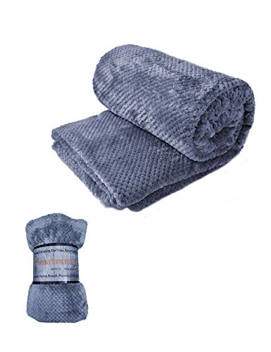 HTE Manta Suave de Microfibra 130 X 160 cm Individual para Sofá, Sillón,Cama, para Adultos y Niños (Gris)