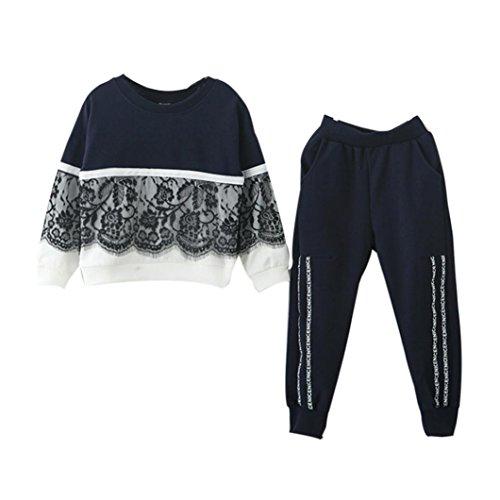 Kobay Kobay Kinder Baby Mädchen Spitze Pullover Sweatshirt Tops + Hosen Outfits Kleidung Set