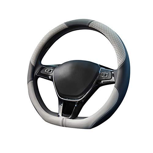 """Ergocar Sport D-Form Auto Lenkradbezug Rutschfester Auto Lenkradschutz D-Typ Atmungsaktiv Mikrofaser PU Leder für Durchmesser 38cm (15"""") (Weiß)"""