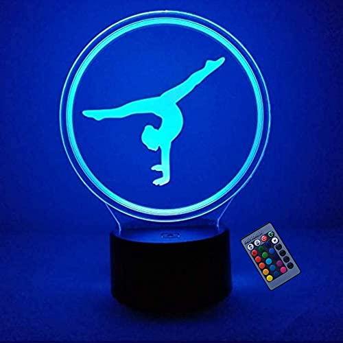 Creativo 3D Gimnasia Luz De Noche 16 Colores Que Cambian Alimentación Usb Control Remoto Interruptor Táctil Lámpara De Decoración Lámpara De Ilusión Óptica Lámpara De Escritorio De Mesa Led