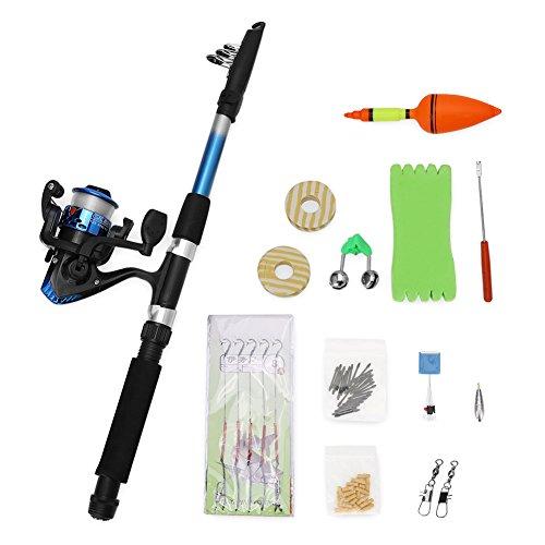 GLOGLOW Kit Completo de Caña de Pescar Telescópica y Carrete de Pesca, Ligero, Portátil, Agua Salada, Kit Completo de Accesorios