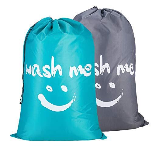 Amazon Brand – Eono 2 Piezas Bolsas Cestos para la Colada, Gran Servicio de lavandería, Plegable Bolsa de Lavado de Ropa Bin (Azúl&Gris)