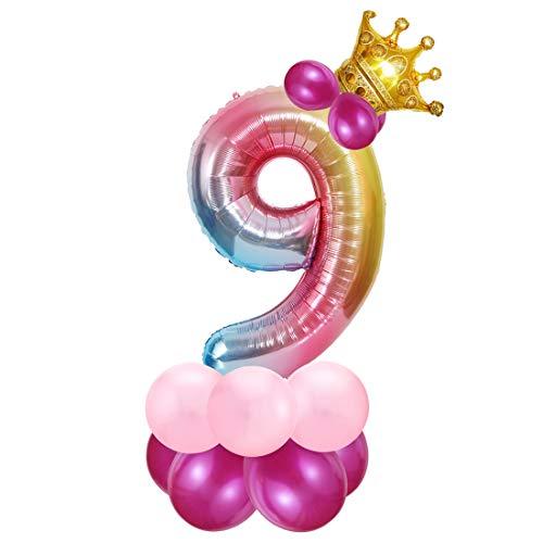 Foil Globo Número 9 Rosa, 9er Cumpleaños Globos, Feliz Cumpleaños Decoración Globos 9 Años Niñas, Arco Iris Globos de Número 9, Globos Numeros para Cumpleaños, Fiesta, Decoración