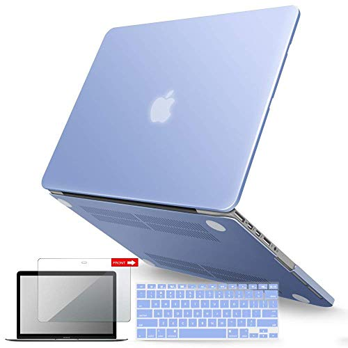IBENZER MacBook Pro 13 Inch Case 2015 2014 2013 end 2012 A1502 A1425, Hard Shell Case with Keyboard Cover & Screen Protector for Old Version Apple Mac Pro Retina 13, Serenity Blue, R1301SRL+2A