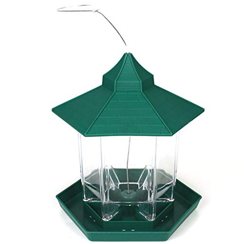 NO LOGO Green Pavilion Bird Feeder Plastic Hanging Bird Food Container Al Aire Libre Impermeable Bird Feeder Pet Supplies Jardín Decoración