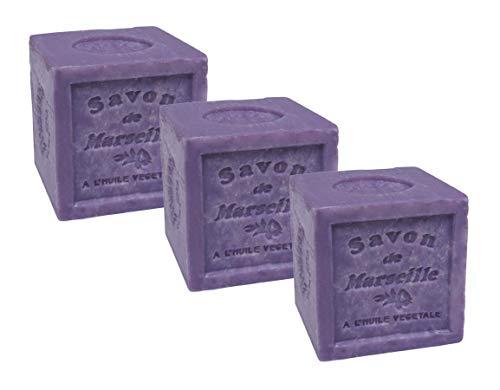 Maison du Savon de Marseille - 3er-Set Seife Marseiller Kernseife 'Lavendel' aus 72% Pflanzenöl - 3 x 300 g
