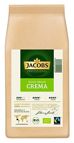 Jacobs Professional Good Origin Cafe Crema, 1kg Bohnenkaffee, ganze Bohne, 100% Fairtrade und Bio-zertifiziert
