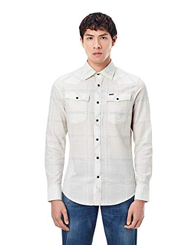 G-STAR RAW 3301 Slim Camisa, Milk Ethan Check C649-c315-Reloj de Pulsera, L para Hombre