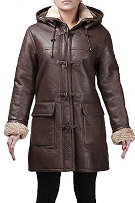 Women's Brown Warm Hooded Real Shearling Sheepskin Leather Duffle Coat (XL)