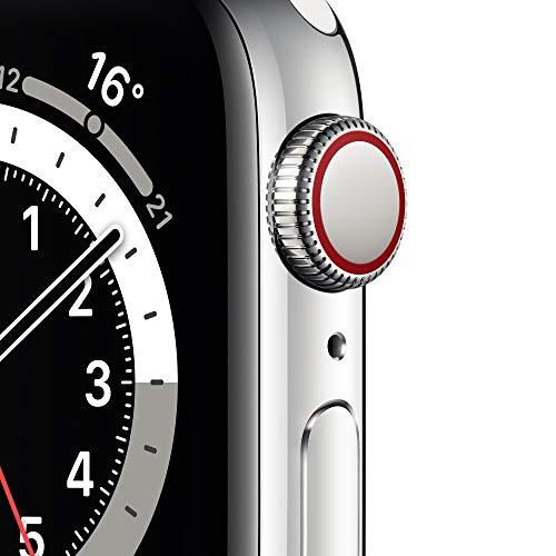 AppleWatch Series6 (GPS+ Cellular, 40mm) Edelstahlgehäuse Silber, Sportarmband Weiß