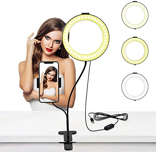 Selvim Anillo de Luz LED de 6 Pulgadas con Soporte de Brazo Flexible 3 Modos de Luces 4.5 W 10 Niveles de Brillo, Luz para Maquillaje Alimentado por Cable USB 2 en 1 para Video, Fotografía Youtube