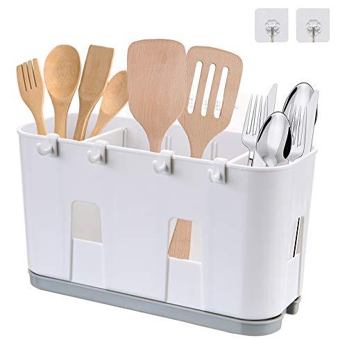 Soporte para cubertería, para utensilios de cocina, cesta de secado y tenedor, cuchara de drenaje, fregadero, organizador