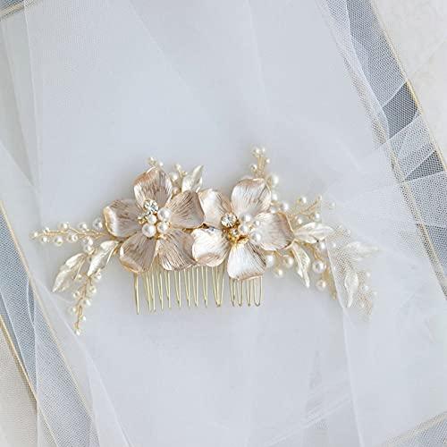 PPuujia Hermosas flores esmaltadas blancas para el pelo nupcial, pelo de perlas, hecho a mano, accesorios para el pelo de la hoja (color metálico: dorado)