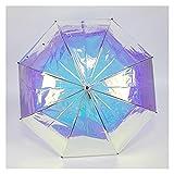 Mujeres Lluvia Y Brillo De Doble Uso Paraguas Transparente Paraguas Creativo Iris Paraguas Semiautomático Arco Iris Paraguas (Color : 58.5cm 8k)