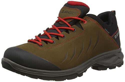 Hi-Tec Palermo Lite Luxe WP, Zapatillas para Caminar Hombre, Dk Marrón Negro Rojo, 43 EU