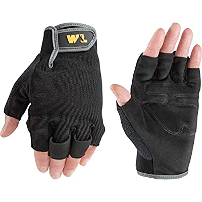Men's Fingerless Synthetic Leather Palm Work Gloves, Medium (Wells Lamont 847), Black