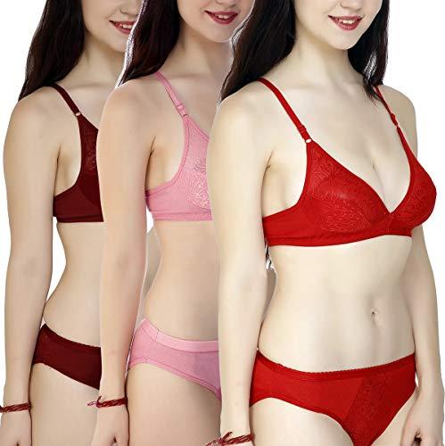 StyFun Women's Cotton 3 Bras, 3 Panty Set, Sexy Lingerie for Honeymoon Sex|Lingerie Set for Women|Bra Panty Set for Women|Babydolls Sexy Lingerie for Honeymoon|Pink Maroon Red|