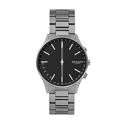 Skagen Connected Men's Holst Titanium and Leather Hybrid Smartwatch, Color: Grey, Brown (Model: SKT1306)