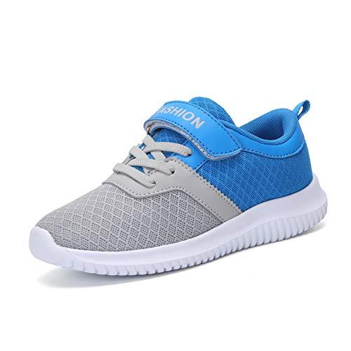 Minbei Unisex Kinder Hallenschuhe Klettriemen Jungen Sneakers Atmungsaktive Sportschuhe Laufschuhe Mädchen Leichte Turnschuhe Grau 27 EU/CN 28