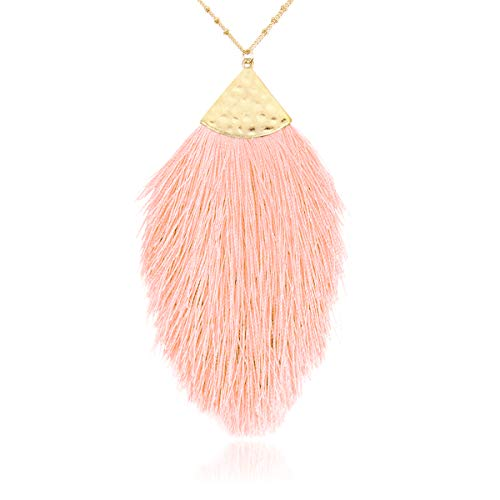 RIAH FASHION Antique Bohemian Silky Thread Fan Tassel Statement Necklace - Vintage Gold Feather Shape Strand Fringe Lightweight Long Chain (Feather Fringe - Salmon)