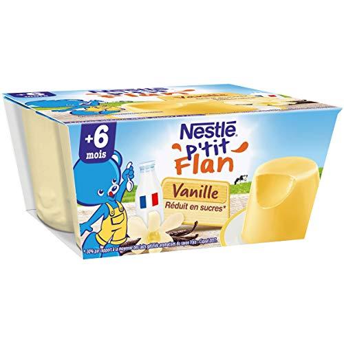 NESTLÉ Bébé - P'tit Flan - Vanille - Laitage dès 6 mois - 4 x 100g - Pack de 6 ( 24 Laitages )