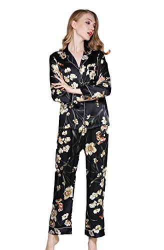 Frauen Langarm Schlafanzug Set mit Mustern Bedrucken Morgenmantel Schwarz XL