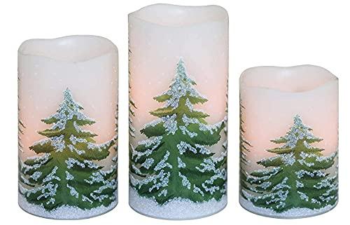 3 stycken flamlösa ljus med julgran, batteri äkta vax ljus, elektriska LED-ljusuppsättningar med fjärrkontroll, frieri, party festival sovrum dekoration