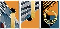 キャンバスの写真北欧のキャンバスの絵画抽象的な幾何学模様のポスター印刷壁の写真モダンなリビングルームの装飾3個50x70cmフレームなし