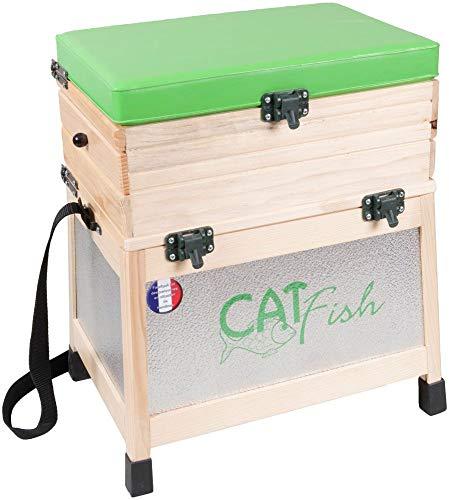 Inconnu Siège de pêche en Bois avec rangements 2 tiroirs Bois et alu