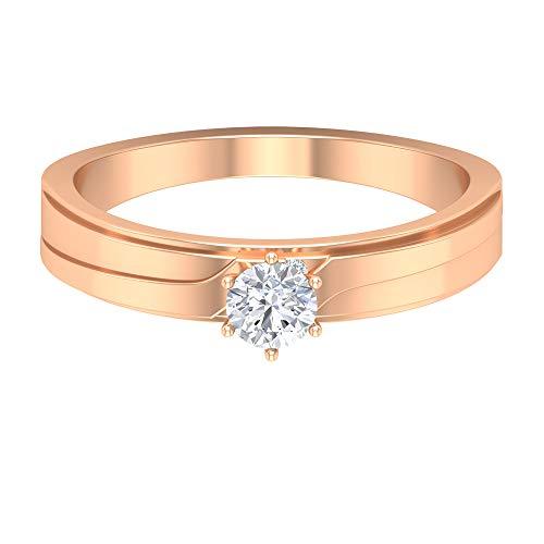 Joyas Rosec??? Anillo de compromiso antiguo, anillo solitario con diamante HI-SI de 1/4 quilates, 14K Oro rosa, Size:EU 59