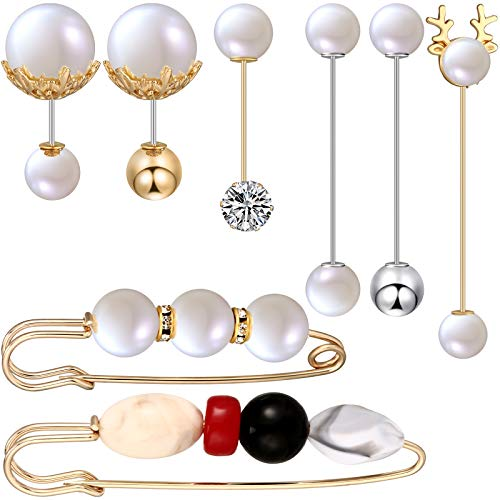 8 Pieces Faux Pearl Brooch Pins Sweater Shawl Clip Pearl Rhinestone Brooch Vintage Shirts Dresses Cardigan Collar Safety Pins for Women