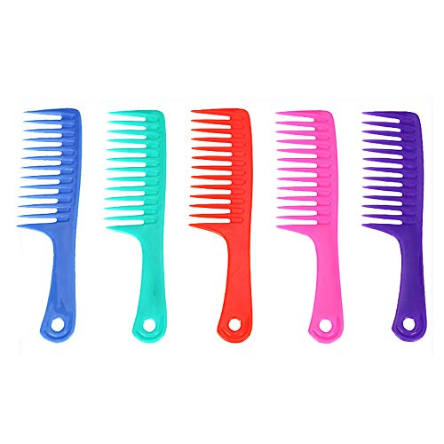 Friseurkamm, antistatisch, Kunststoff, große Zähne, flach, tragbar, 5 Stück
